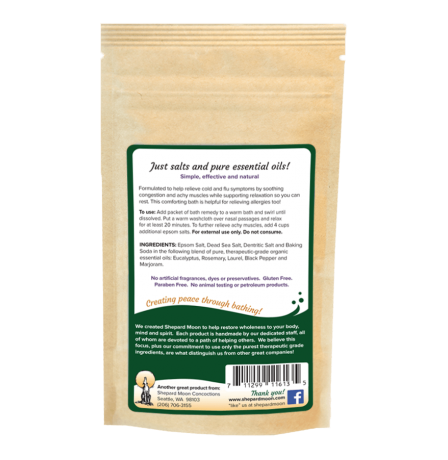 Cold and Flu Bath Remedy 4 ounce pouch back