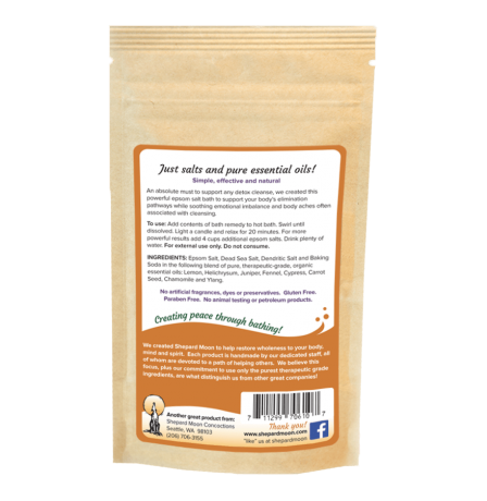 Detox Support Bath Remedy 4 ounce pouch back
