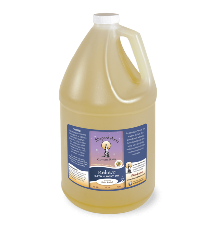 Relieve Bath and Body Oil gallon bottle